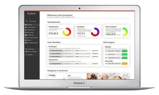 NUK Businessplanwettbewerb Audora Dashboard